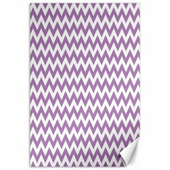 Lilac And White Zigzag Canvas 24  x 36  (Unframed)