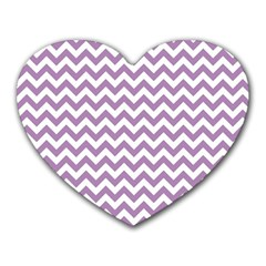 Lilac And White Zigzag Mouse Pad (Heart)