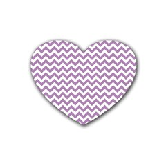 Lilac And White Zigzag Drink Coasters 4 Pack (heart)