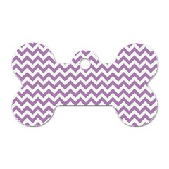 Lilac And White Zigzag Dog Tag Bone (Two Sided)