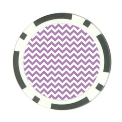 Lilac And White Zigzag Poker Chip