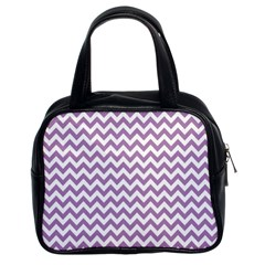 Lilac And White Zigzag Classic Handbag (two Sides)