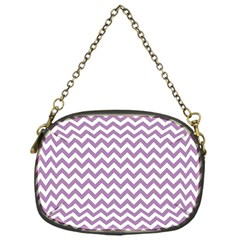 Lilac And White Zigzag Chain Purse (One Side)
