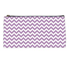 Lilac And White Zigzag Pencil Case