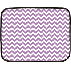 Lilac And White Zigzag Mini Fleece Blanket (Two Sided)