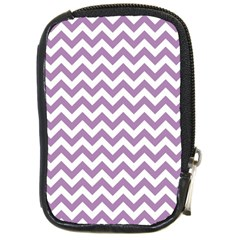 Lilac And White Zigzag Compact Camera Leather Case