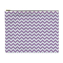Lilac And White Zigzag Cosmetic Bag (XL)