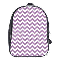 Lilac And White Zigzag School Bag (Large)