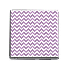 Lilac And White Zigzag Memory Card Reader With Storage (square)