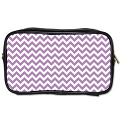 Lilac And White Zigzag Travel Toiletry Bag (two Sides)