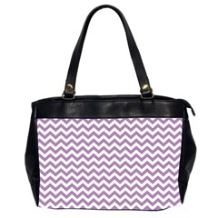 Lilac And White Zigzag Oversize Office Handbag (two Sides)