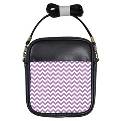Lilac And White Zigzag Girl s Sling Bag