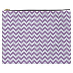 Lilac And White Zigzag Cosmetic Bag (xxxl)