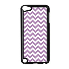 Lilac And White Zigzag Apple iPod Touch 5 Case (Black)