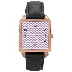Lilac And White Zigzag Rose Gold Leather Watch