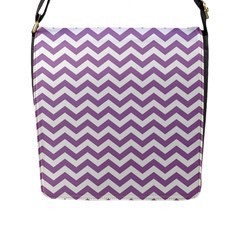 Lilac And White Zigzag Flap Closure Messenger Bag (Large)