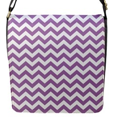 Lilac And White Zigzag Flap Closure Messenger Bag (small)