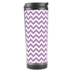 Lilac And White Zigzag Travel Tumbler