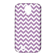 Lilac And White Zigzag Samsung Galaxy S4 Classic Hardshell Case (pc+silicone)