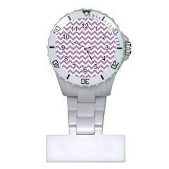 Lilac And White Zigzag Nurses Watch