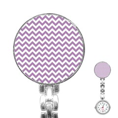 Lilac And White Zigzag Stainless Steel Nurses Watch