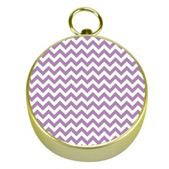 Lilac And White Zigzag Gold Compass
