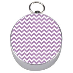Lilac And White Zigzag Silver Compass