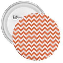 Orange And White Zigzag 3  Button