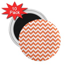 Orange And White Zigzag 2.25  Button Magnet (10 pack)