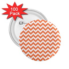 Orange And White Zigzag 2.25  Button (100 pack)