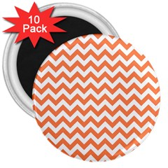 Orange And White Zigzag 3  Button Magnet (10 pack)