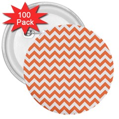 Orange And White Zigzag 3  Button (100 Pack)