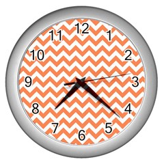 Orange And White Zigzag Wall Clock (Silver)