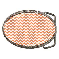 Orange And White Zigzag Belt Buckle (Oval)