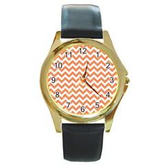 Orange And White Zigzag Round Leather Watch (Gold Rim)