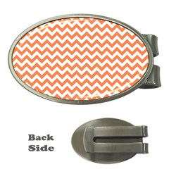 Orange And White Zigzag Money Clip (Oval)