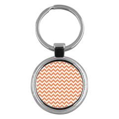 Orange And White Zigzag Key Chain (Round)