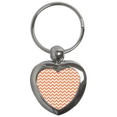 Orange And White Zigzag Key Chain (Heart)