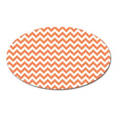 Orange And White Zigzag Magnet (Oval)