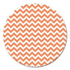 Orange And White Zigzag Magnet 5  (Round)