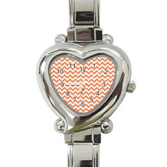 Orange And White Zigzag Heart Italian Charm Watch