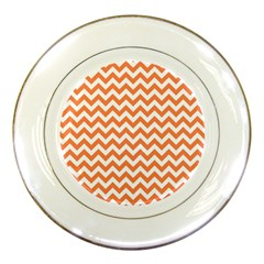 Orange And White Zigzag Porcelain Display Plate