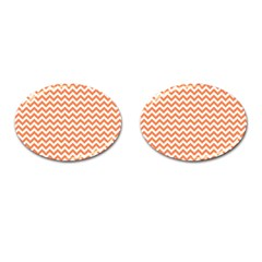 Orange And White Zigzag Cufflinks (Oval)