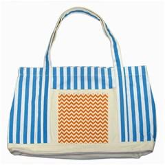 Orange And White Zigzag Blue Striped Tote Bag
