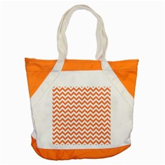 Orange And White Zigzag Accent Tote Bag