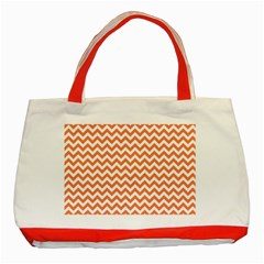 Orange And White Zigzag Classic Tote Bag (Red)