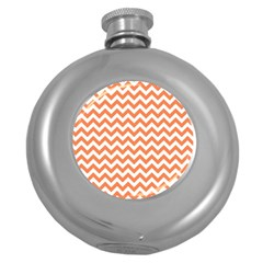 Orange And White Zigzag Hip Flask (Round)