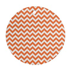 Orange And White Zigzag Round Ornament (Two Sides)