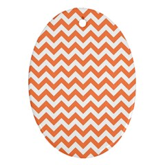Orange And White Zigzag Oval Ornament (Two Sides)