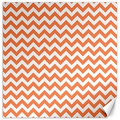 Orange And White Zigzag Canvas 12  X 12  (unframed)